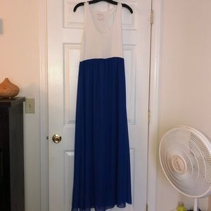 Nymphe white/blue maxi racerback dress